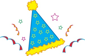 Streamers clipart birthday party. Free hat clip art