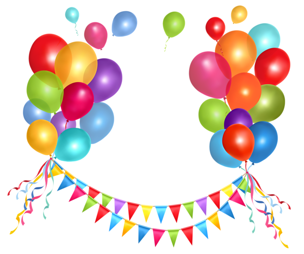 Happy birthday balloons png transparent background. Party streamer and clipart