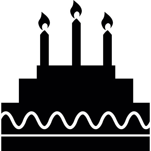 Streamers vector birthday element. Cake with candles icons