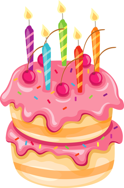 Streamers vector 1st birthday candle. Pink cake clip art