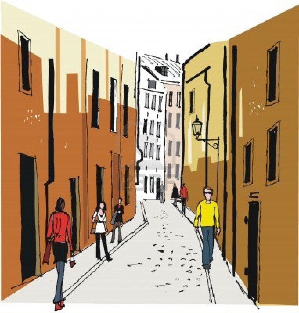Street clipart illustration. Vector of old town