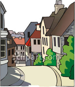 Street clipart village street. Lined with houses royalty