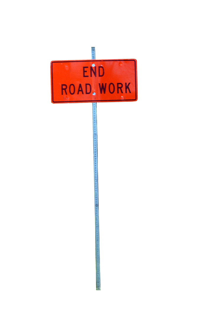 Street sing png. End road work sign
