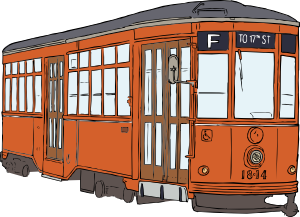 Streetcar vector. Trolly clip art at