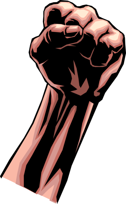 Clenched fist conveys power. Strength vector clipart transparent stock