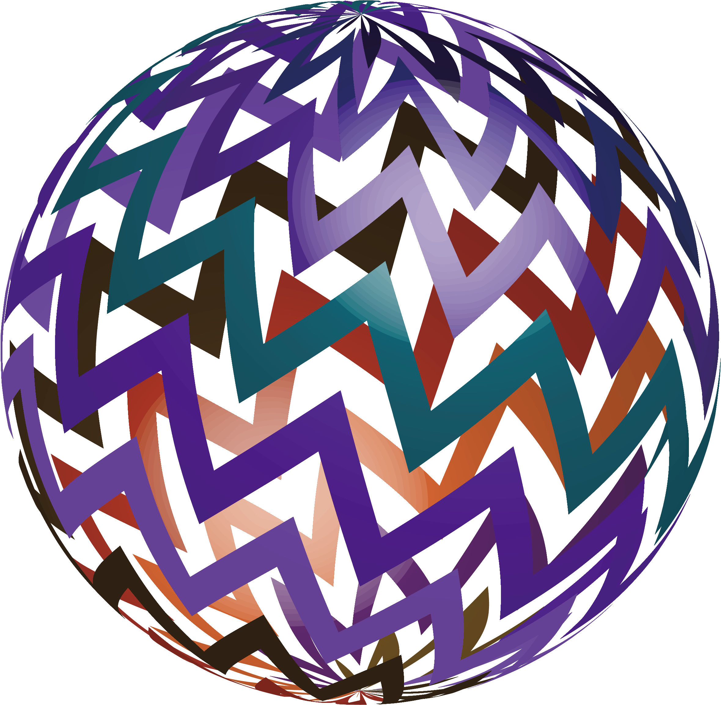 Striped vector sphere. Ball spherical geometry color