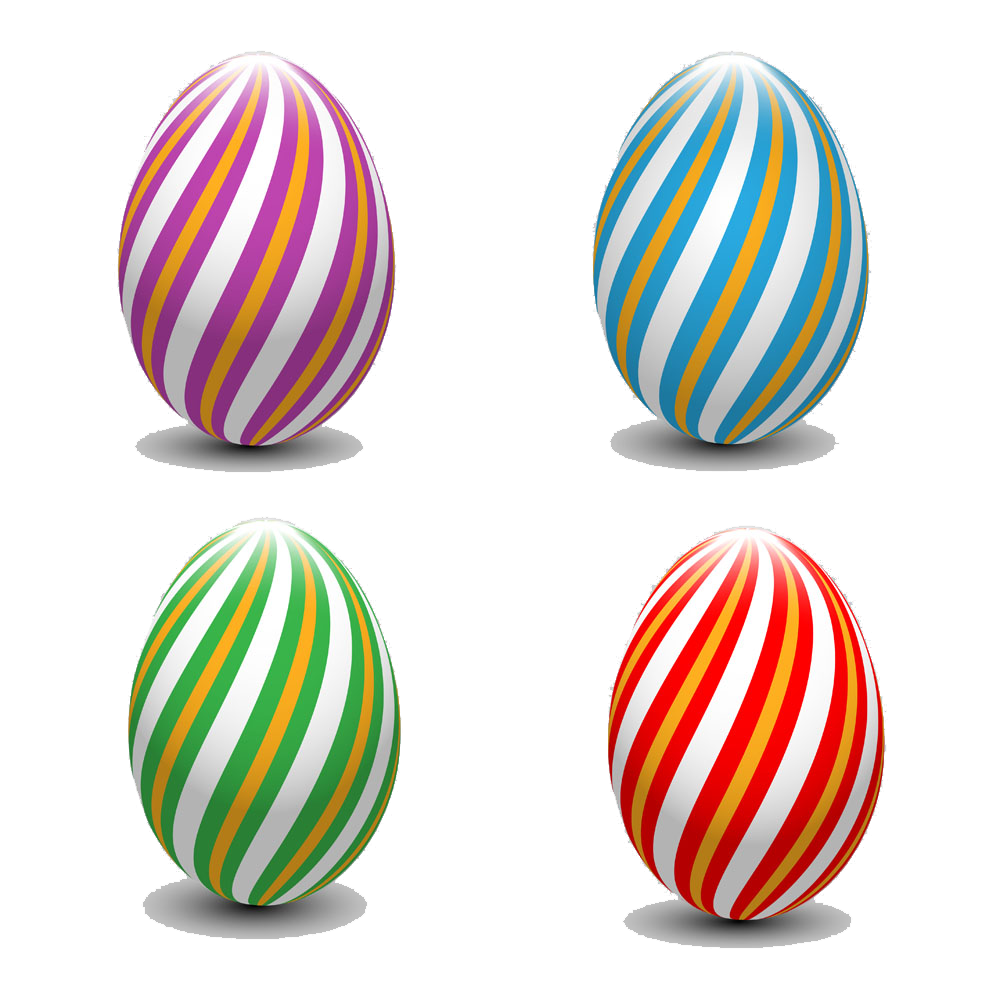 Striped vector sphere. Easter bunny egg pictures