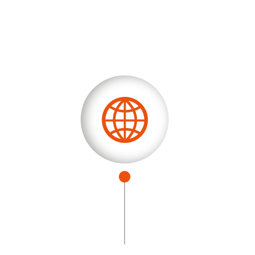 Striped vector sphere. Connect globe infographic transparent