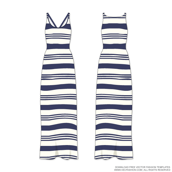 Striped vector template. Woman maxi dress with
