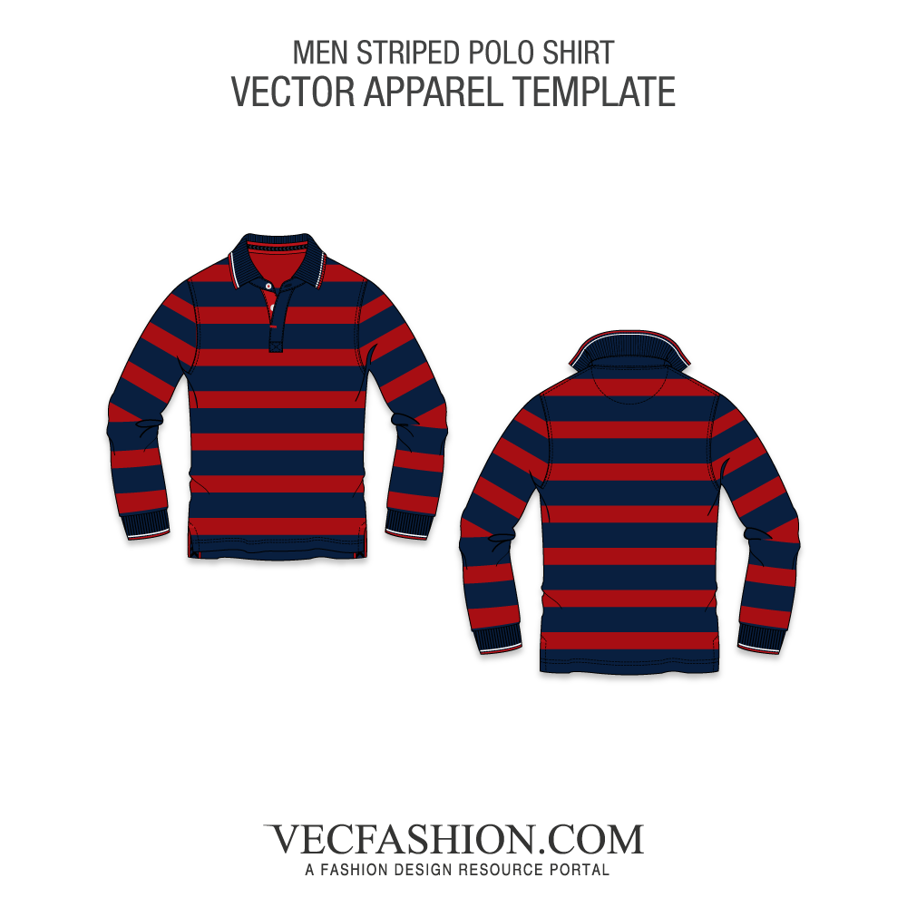 Striped vector template. Polo shirt full sleeved