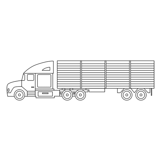 Stroke drawing car. Lorry silhouette thin transparent