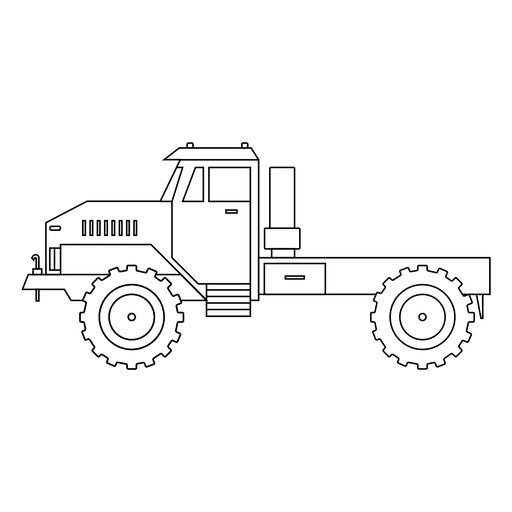 Stroke drawing car. Tractor silhouette transparent png