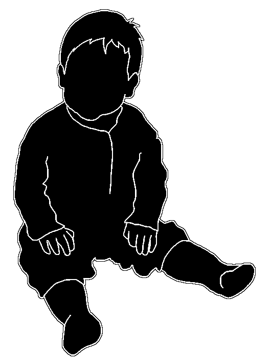 Stroke drawing child. Beautiful silhouettes of children