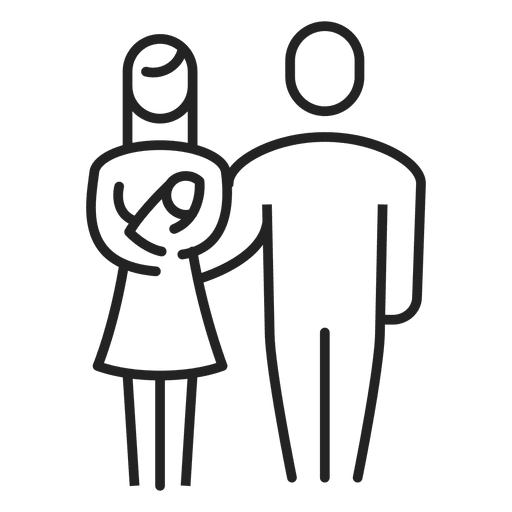 Stroke drawing child. Family with baby transparent