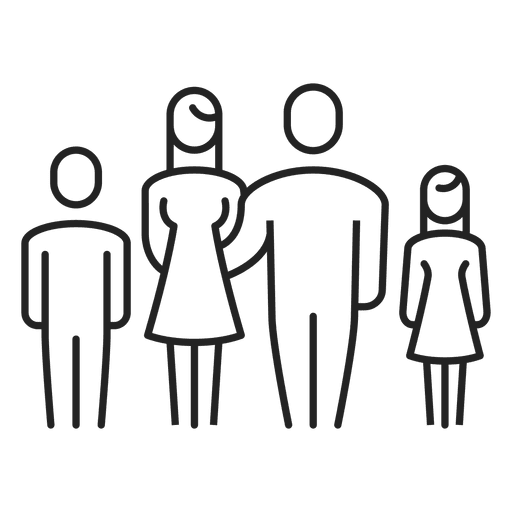 Stroke drawing child. Family with two children