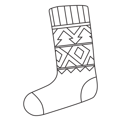 Stroke drawing hand. Christmas stocking drawn icon