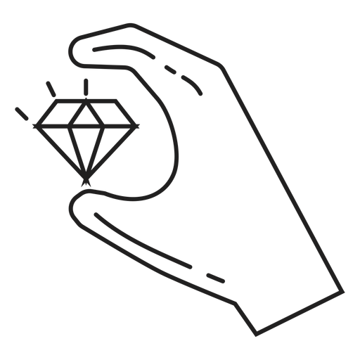 Stroke drawing hand. Holding a diamond icon