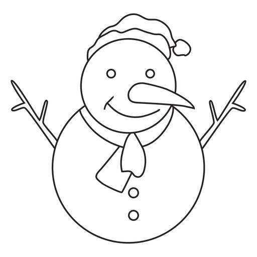 Vector snowman drawing. Hand drawn stroke icon
