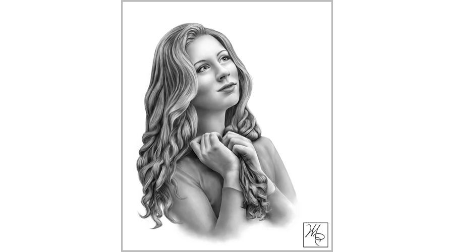 Portraits drawing little girl. Painted and drawn gallery