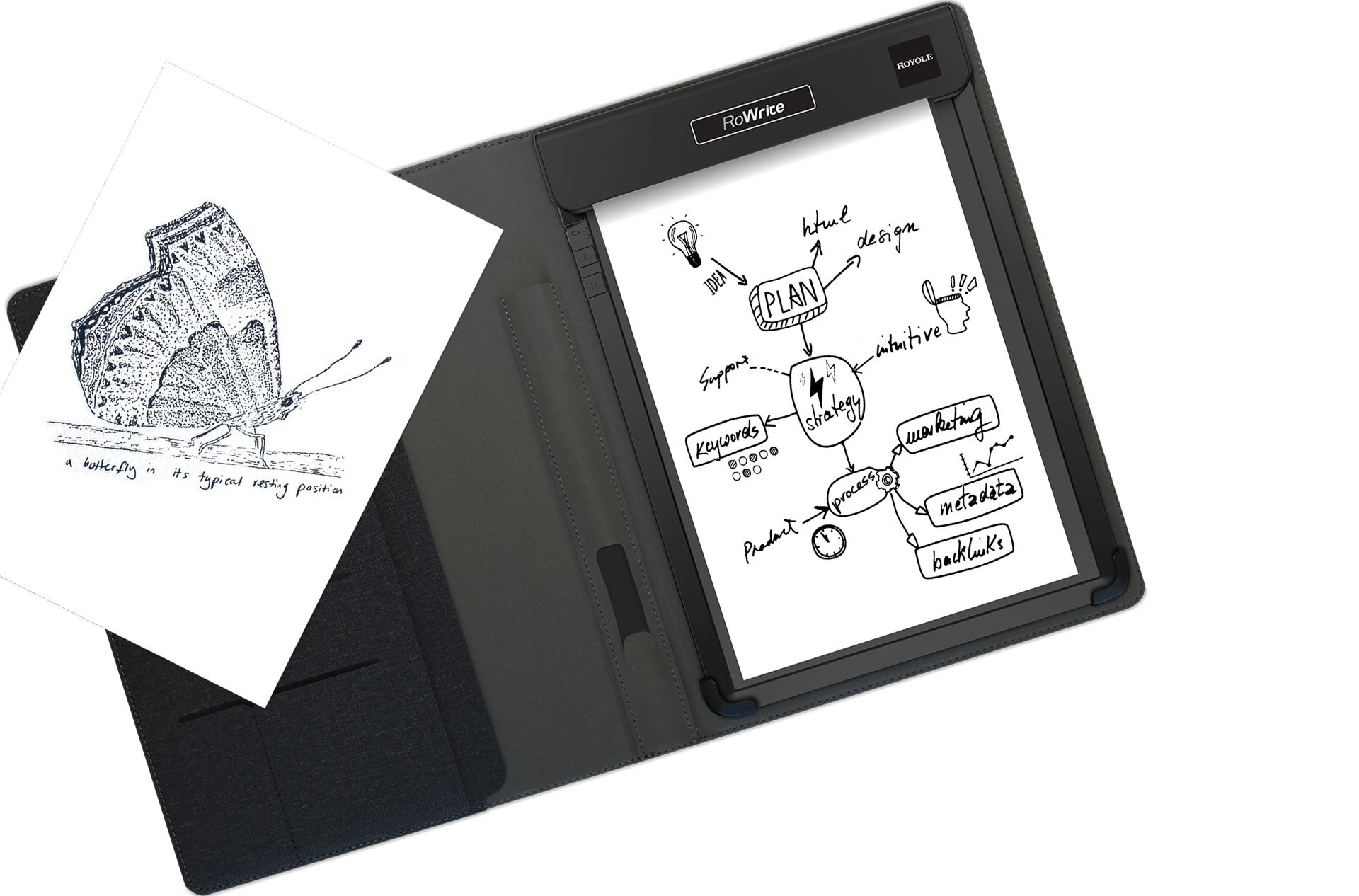 Clip folio legal pad. Rowrite smart writing royole