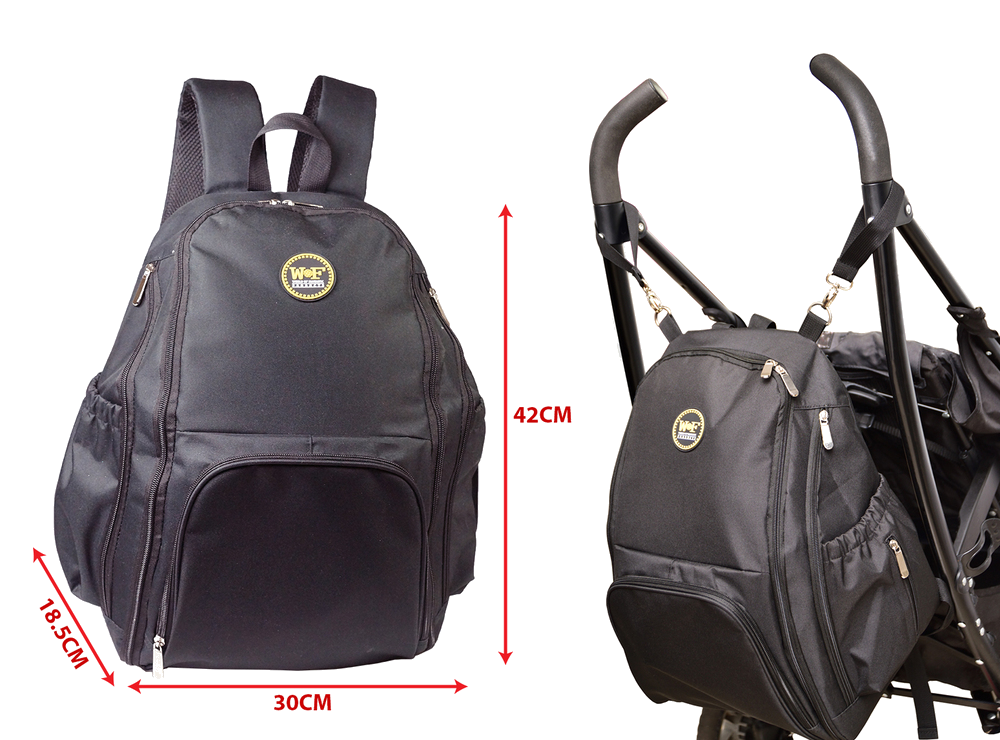 Stroller clip backpack. Baby nappy changing bag