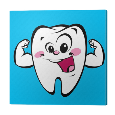 Strong clip tooth. Happy cute cartoon character