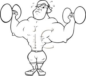 Strong clipart strong body. Builder man lifting barbells