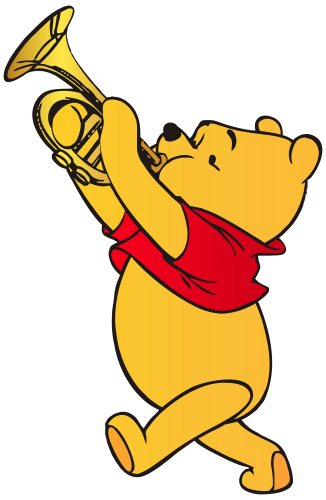 Transparent trumpet artistic. Winnie the pooh playing