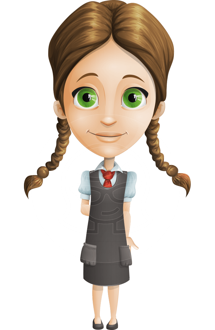 Student cartoon png. Vector smart schoolgirl character