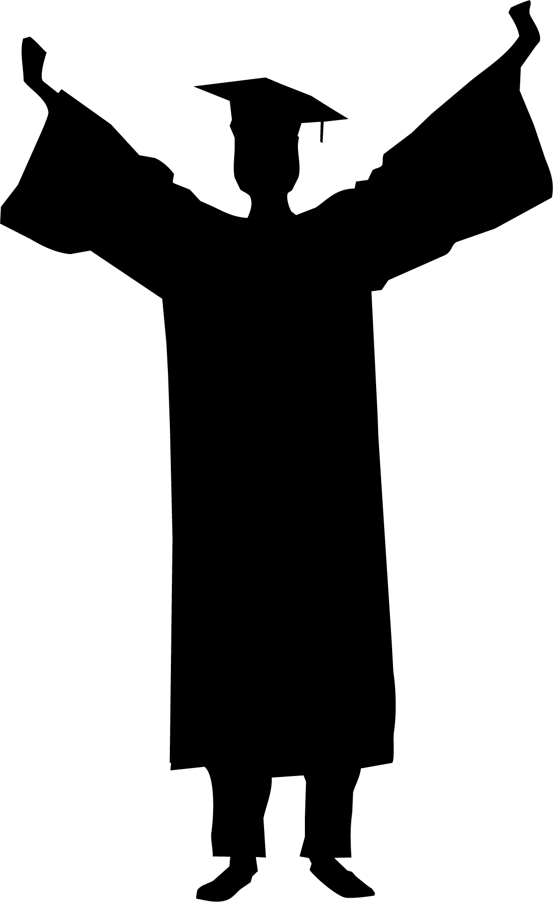 Graduate drawing man. Graduation ceremony silhouette student