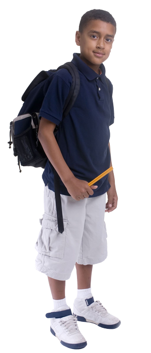Student with backpack png. Feed the body mind