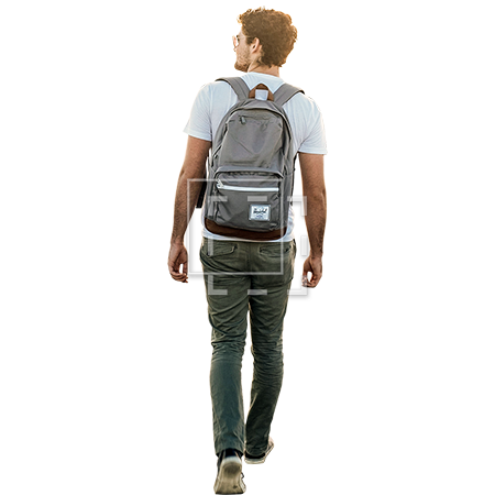Student with backpack png. Man walking away parent