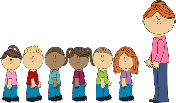 Students clipart walking. In line