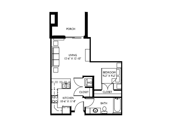 Studio drawing large. Bath apartment in middleton