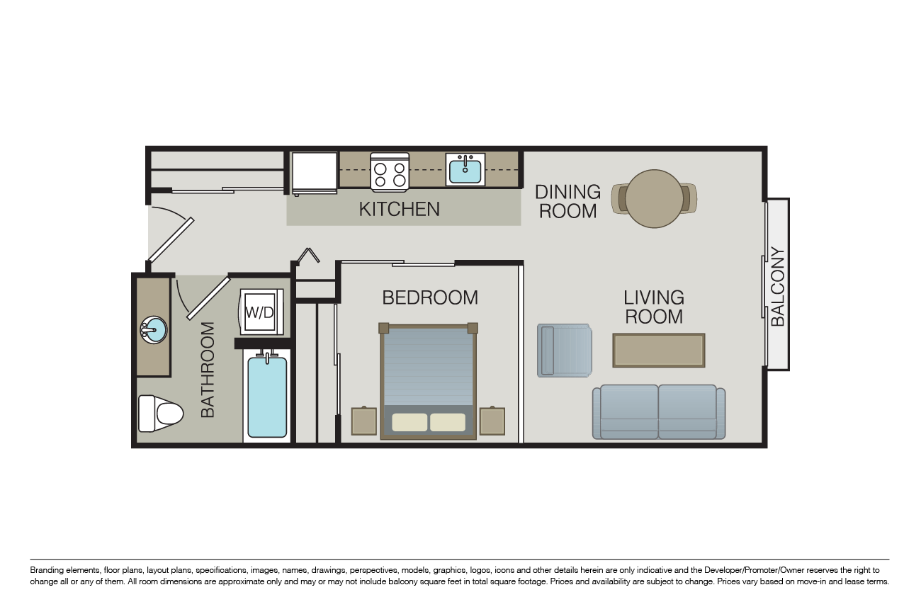 Studio drawing modern. Small apartment with balcony