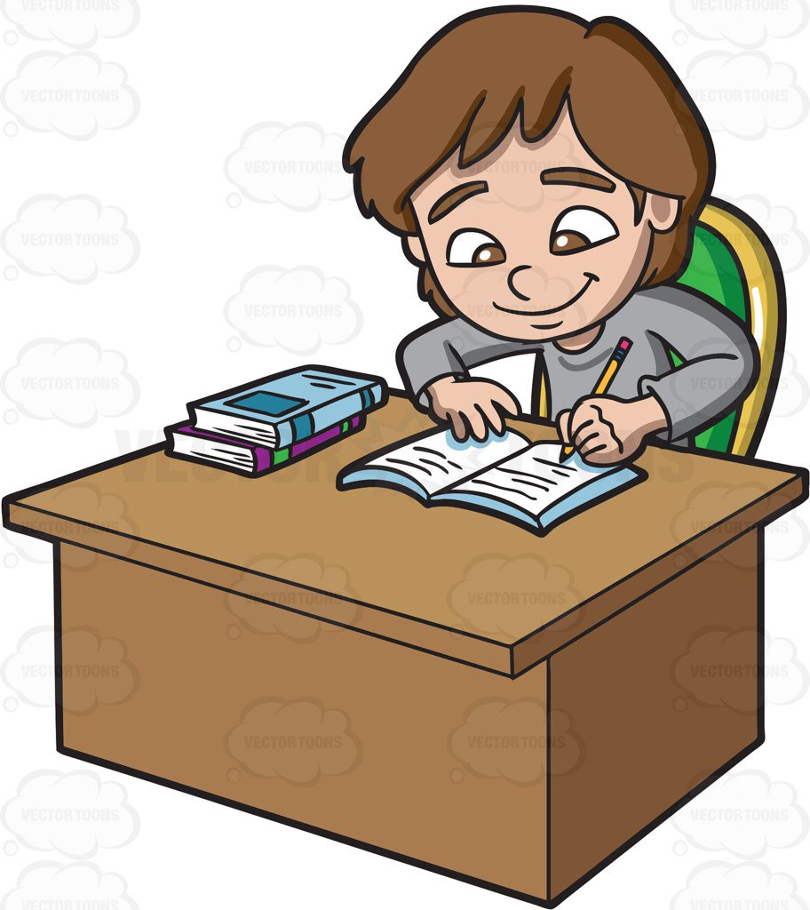 A girl happily cartoon. Studying clipart jpg free download