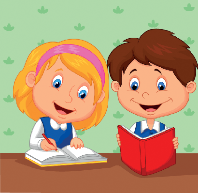 Cartoon boy and girl. Study clipart study math clipart black and white library