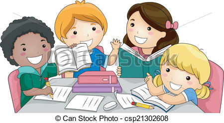 Studying clipart. Group study illustration featuring vector royalty free stock