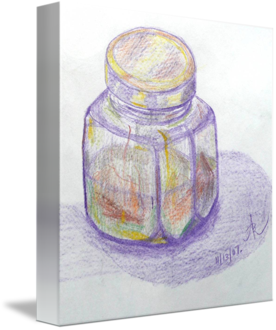 Studying drawing colored pencil. Glass jar study by