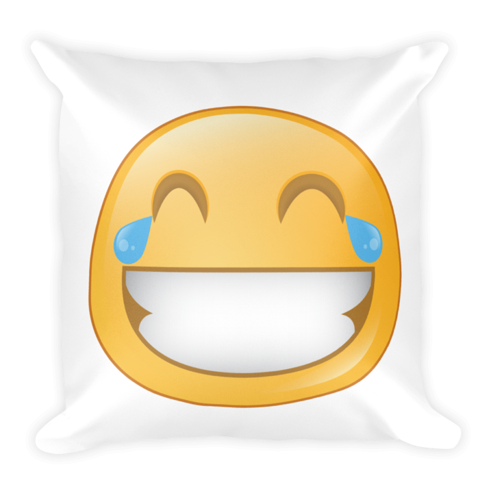 Expressive laughing emoji pillow. Stuffed clipart square picture transparent library