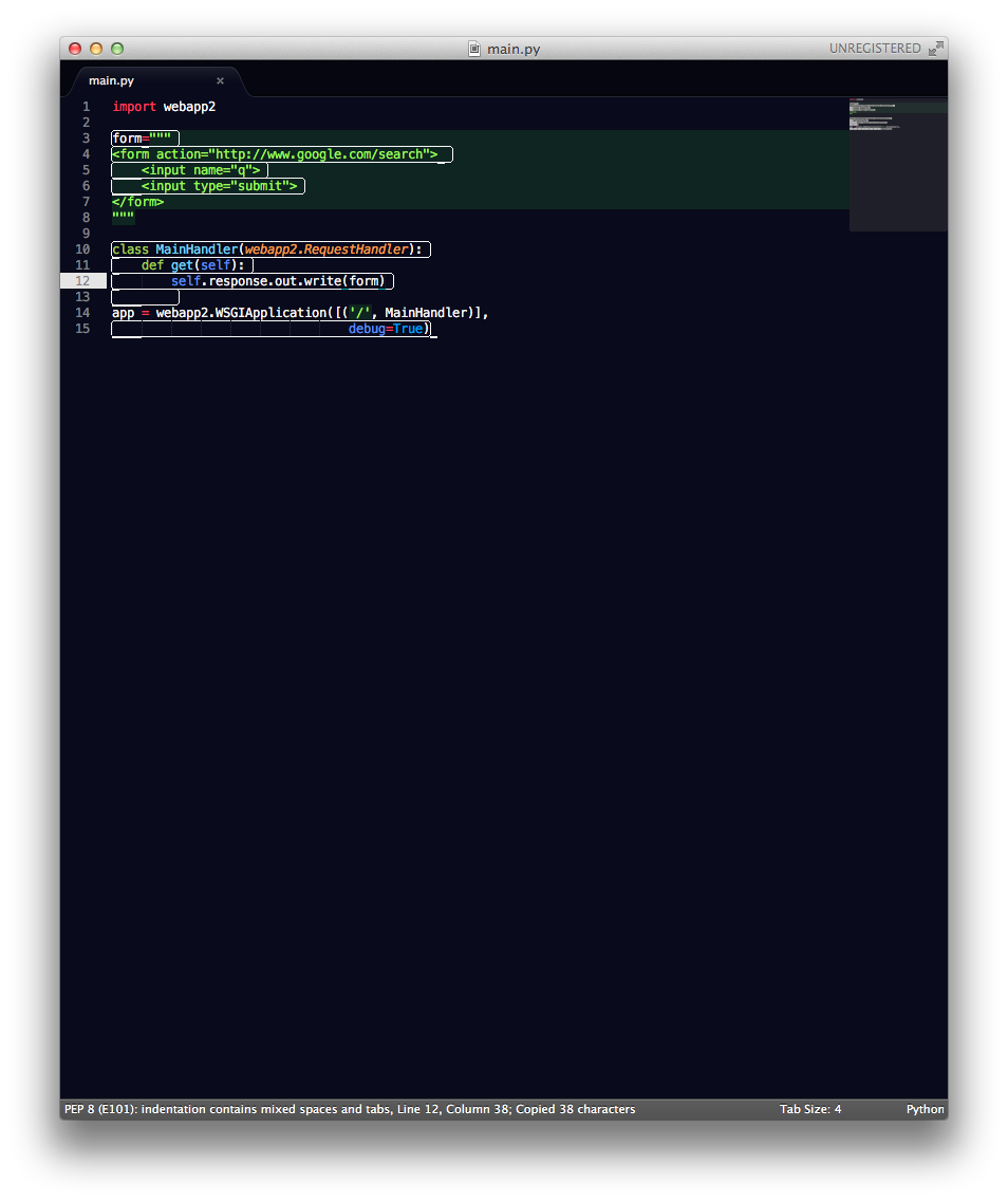 Sublime drawing black and white. Sublimetext encloses lines in
