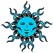 Sublime drawing tie dye. Blue moon tribal design