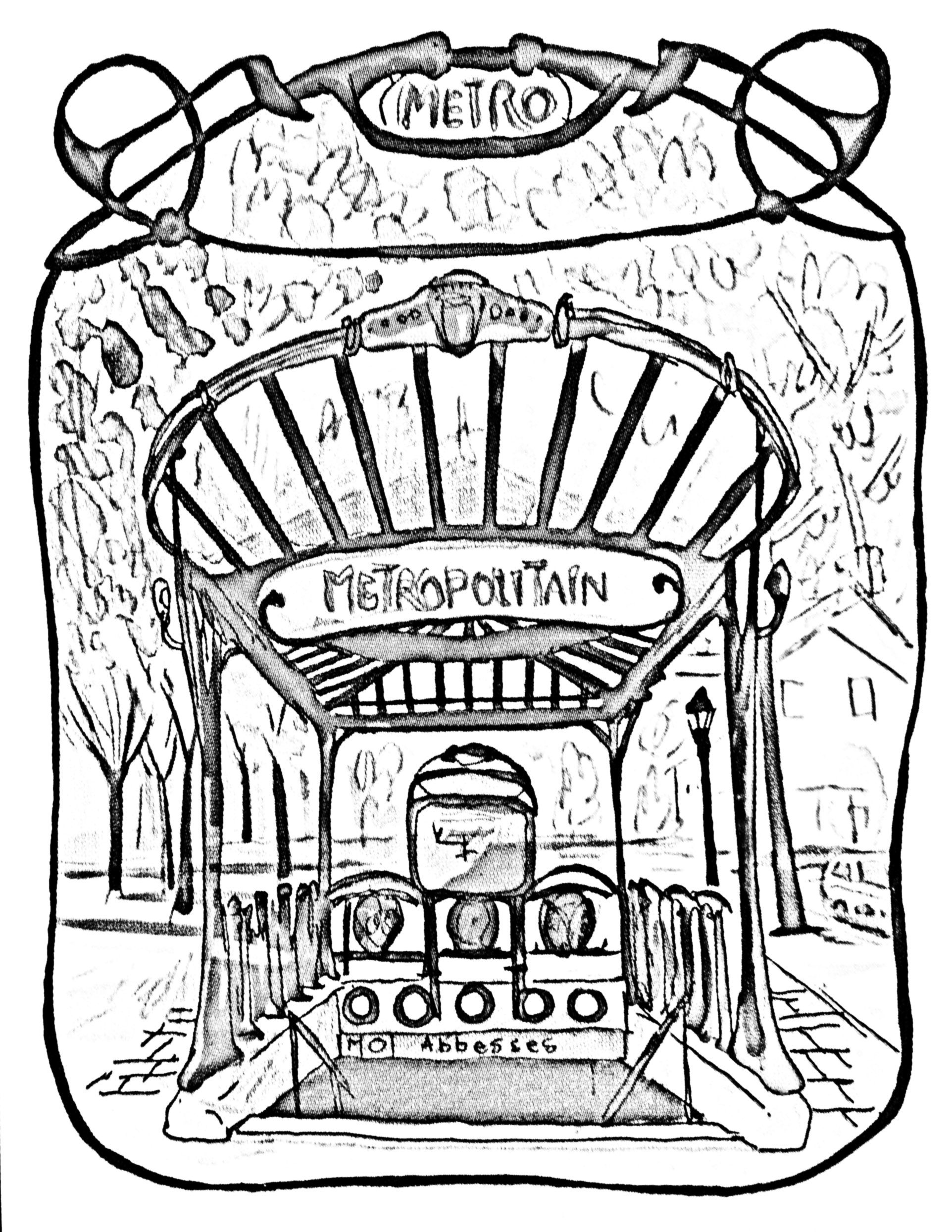 Subway clipart colouring page. Free coloring adult entrance