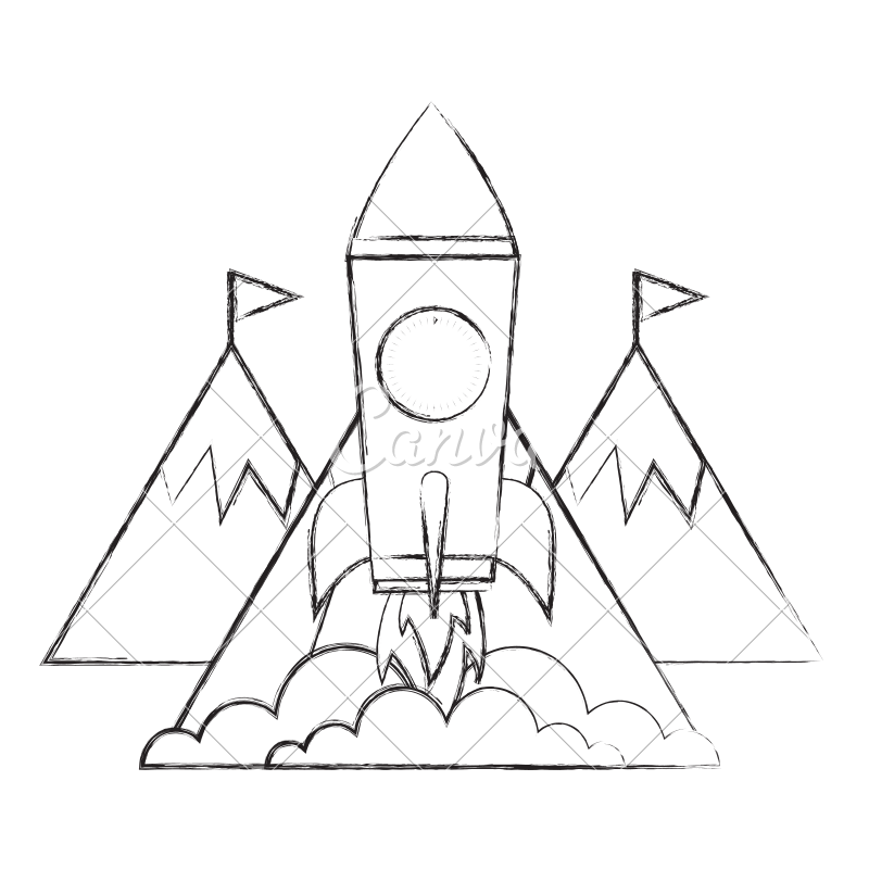 Success drawing business. Rocket mountains flags on