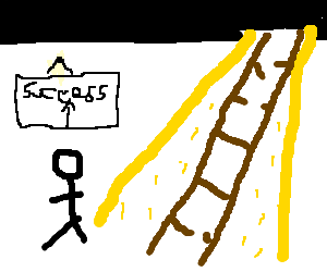 Success drawing ladder. A broken leading to