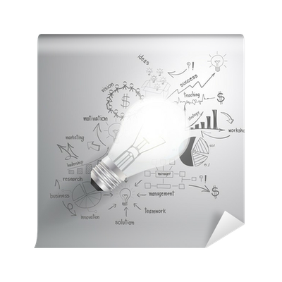 Success drawing light bulb. With business strategy plan