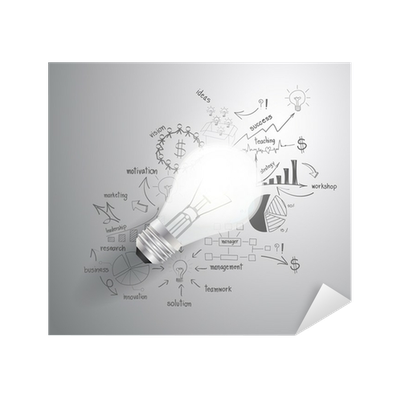 Success drawing business. Light bulb with strategy