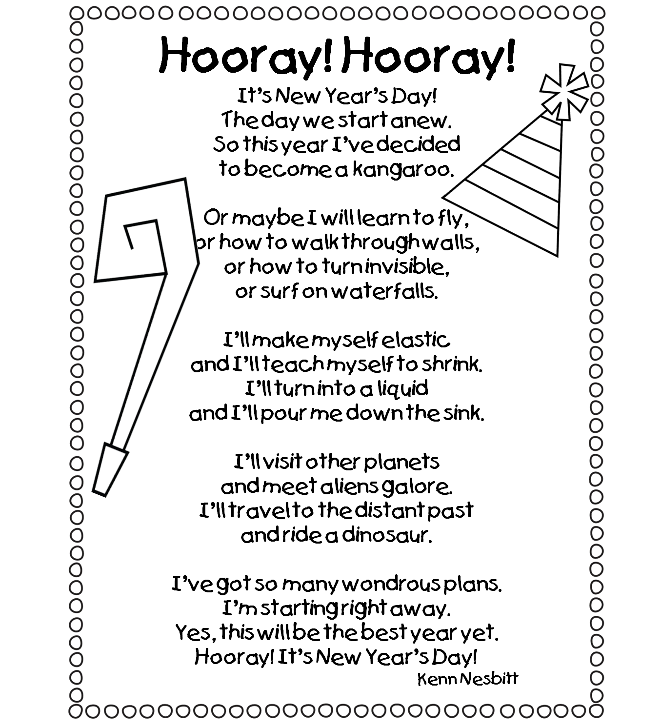 Success drawing poem. Happy new year hooray
