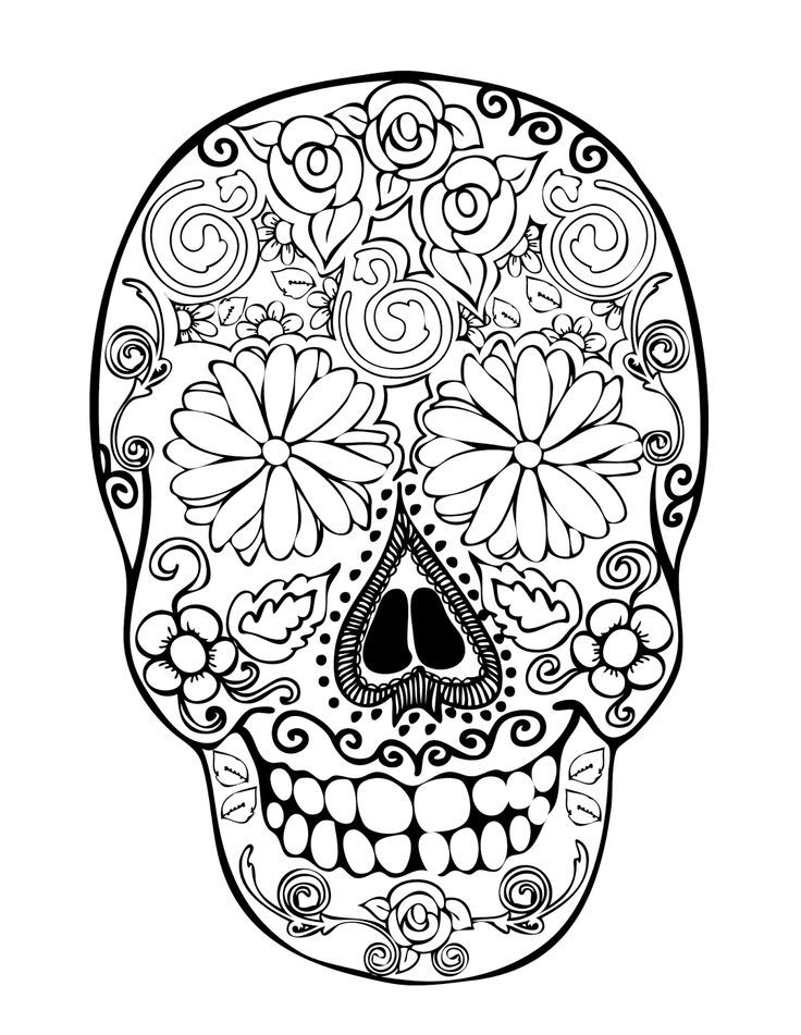Printable Skulls Coloring Pages For Kids | 951x736