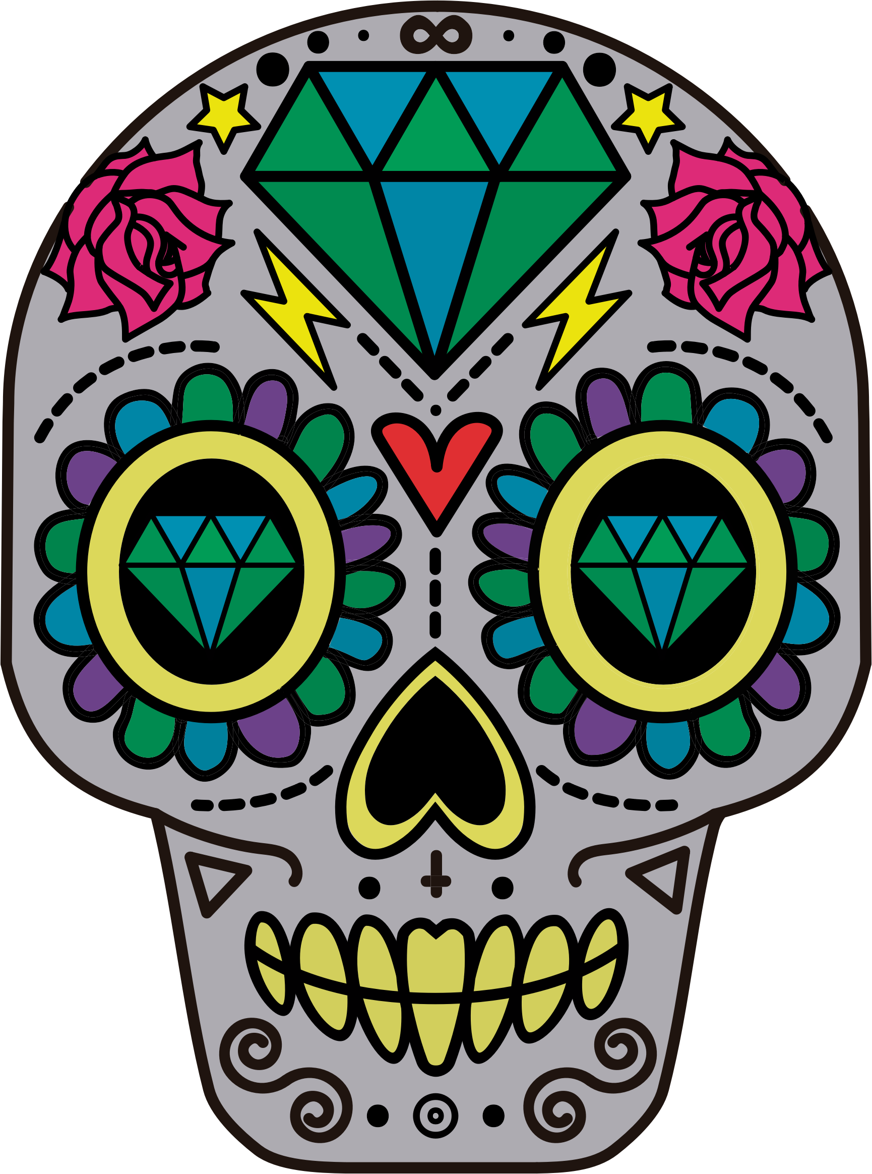 Mexican skull png. Decorative sugar icons free
